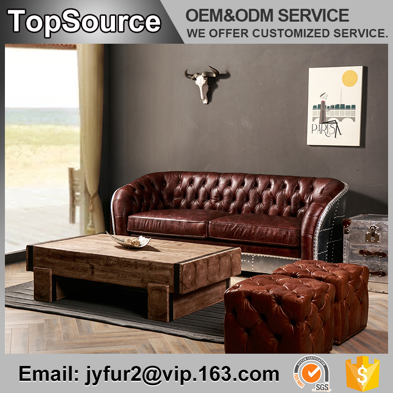 Living Room Surface Aviator Chesterfield Modern Leather Sofa