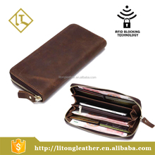 New style Crazy Horse genuine leather long wallet Clutch bag for men