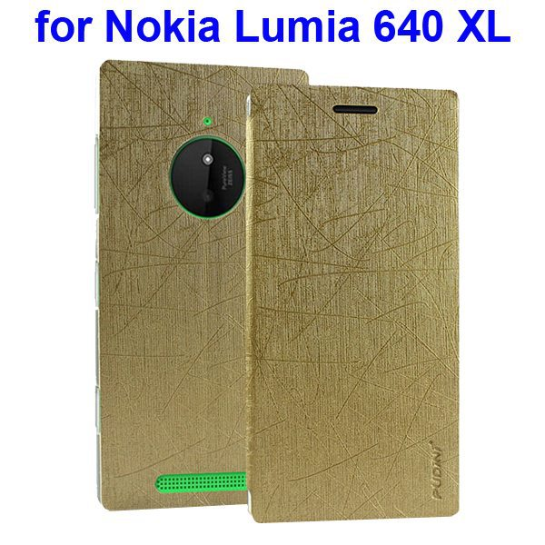 Silk Texture Folio Leather Case for Nokia Lumia 640 XL with Stand and Little Sucker