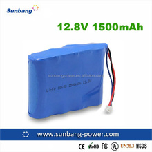 12.8v rechargeable battery 18650 1500mah rechargeable battery 12.8v lifepo4 battery pack