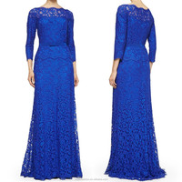 A line evening gown maxi dress 3/4 sleeve lace royal blue long evening dress