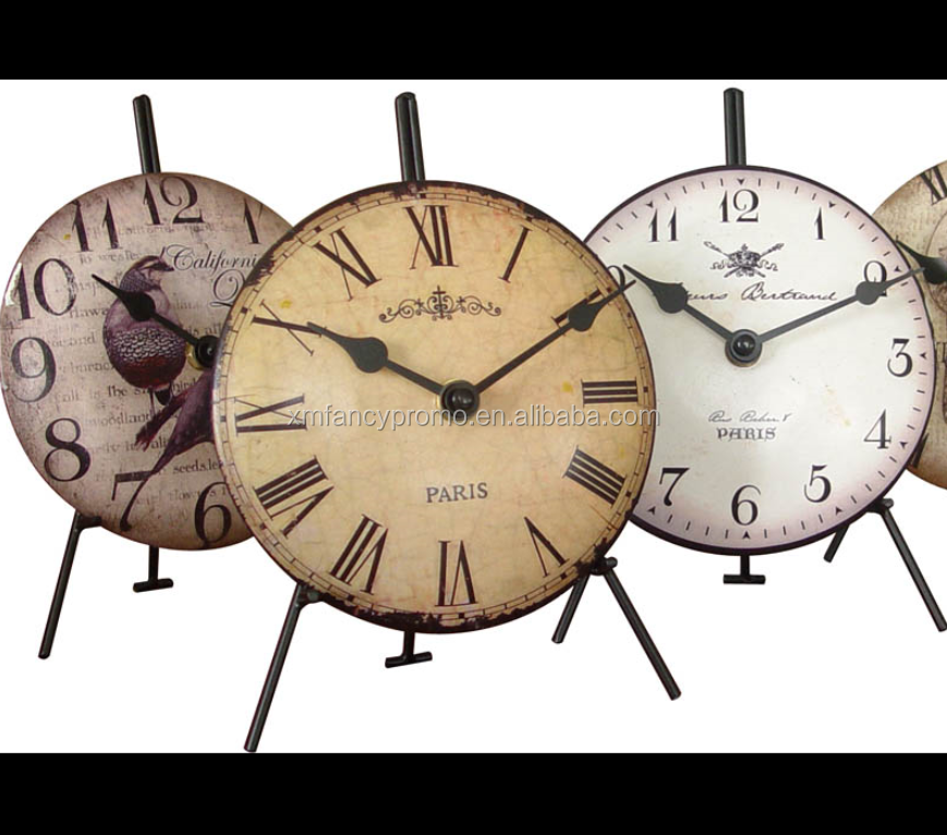 table antique metal clock with holder