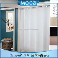 Plain white polyester printing hookless shower curtain