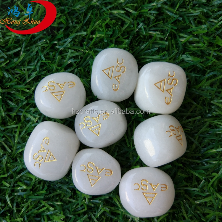 White Jade Engraved Rune Stone Set with Symbols and Velvet Bag By Crystals Supply