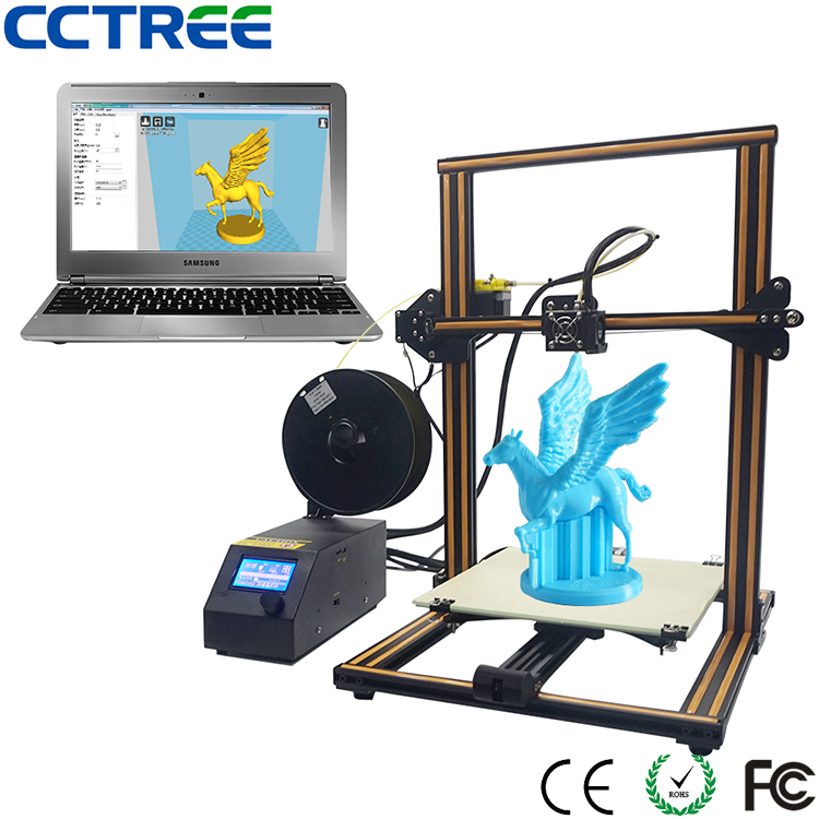 2017 Newest 0.1mm high precision large printing size 3d printer machine, desktop FDM 3D Printer
