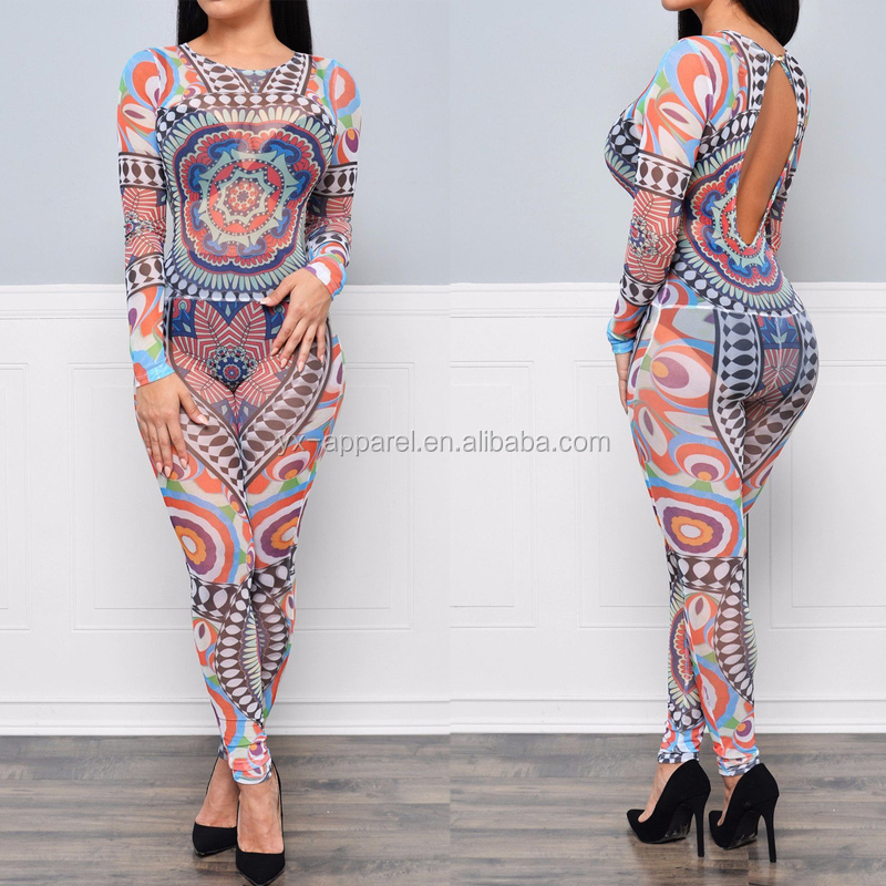 Summer 2016 women full figured printing designs jumpsuits and rompers
