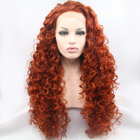 Synthetic hair lace front wig long deep wave hair for women 150% density heat resistant fiber queen party hair wigs top quality