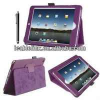 Flip PU Leather Cover Case / Protective Folio Leather Case / Flip Stand Leather Case Cover For Mini Ipad (Purple)