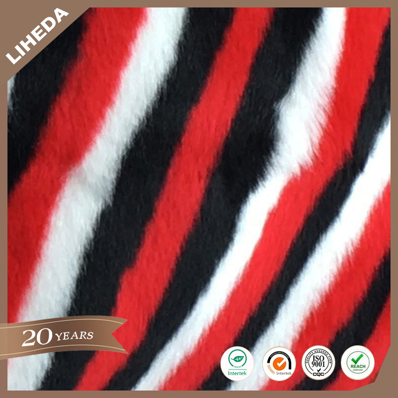 Colorful jacquard long pile faux fur fabric for clothes