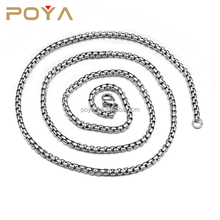 POYA Jewelry Stainless Steel Chain Necklace Round Box Necklace Men Women Jewellery