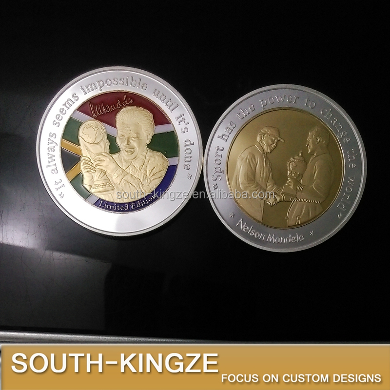 New and hot design two tones metal craft football and mandela coin