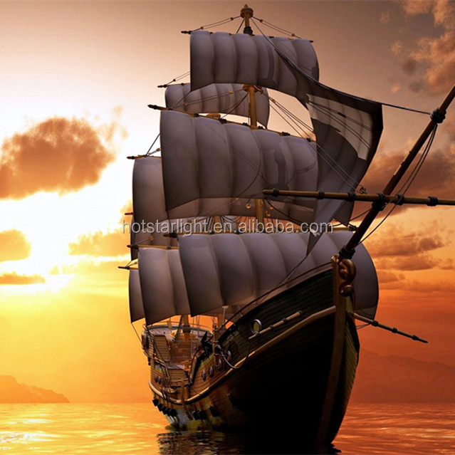 hot selling 40x50cm sailing boat and sunset scenery full diamond drilled 3D stone picture
