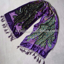 Fashion fleece burn out embroidered beads scarf