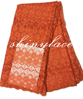 Orange jacquard african lace /guipure bridal lace