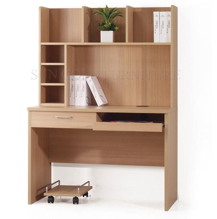 Modern simple design bookcase wooden computer desk with for Modern minimalist bookcase