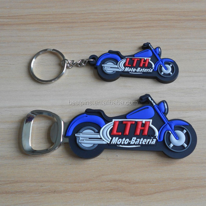 custom motorcycle shaped pvc key chains with bottle opener