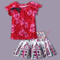 Pettigirl Fashionable Girls Spring And Summer Suit O-Neck Top With Cute Skirt Baby Stylish Comfortable Coat Wholesale Kids Wear