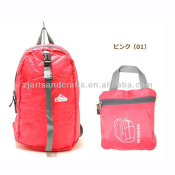 red polyester shopping foldable bag backpack bag