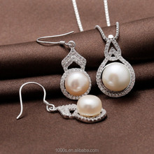 bridal pearl jewelry set, fashion 925 silver main material wholesale, jewelry set for party, wedding, gift