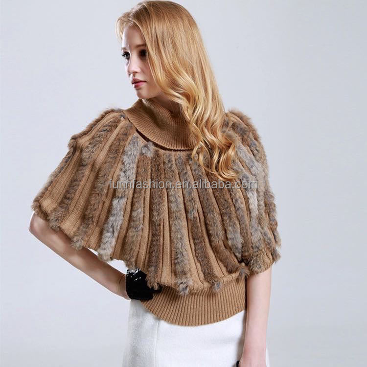 New Product Fashion Girl's Knitted Wool Shawl with Rabbit Fur Trim Wool Shawl/Cape/Poncho/Scarf/Stole/Wrap