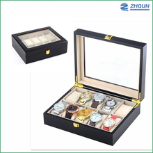 10 Slot Gift Storage Black Wooden Packaging Custom Wrist Wholesale Fashion Lacquered Watch Box