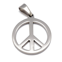 Olivia Fashion Punk Stainless Steel Jewelry Stylish Shipping Silver Peace Sign Jewelry Pendant