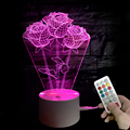 2018 Amazon hot sale Rose shape Acrylic 3d led lamp