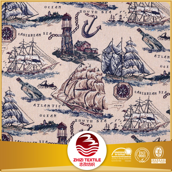 Polyester cotton yarn dyed gobelin tapestry jacquard nautical upholstery fabric