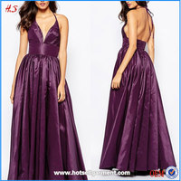 2016 Wholesale new style sex halter plunge neck backless dress sexy japanese formal maxi prom dresses