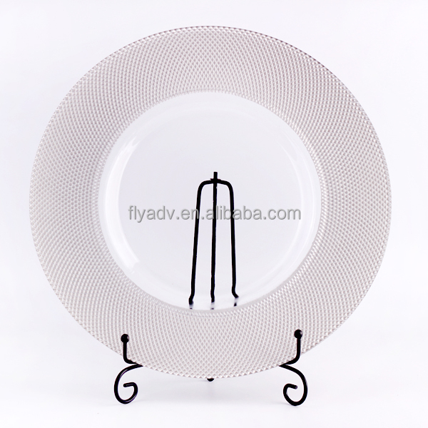2017 new design antique glass charge plate with silver embossed rim