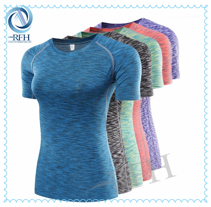 Athletic women slim fit compression clothing running t shirt for golf