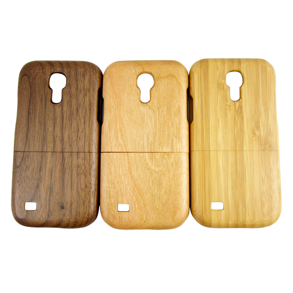 Mobile phone accessories, custom design blank wood phone hull cherry wooden case for Samsung S4 mini