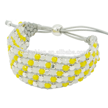Wholesale Custom Acrylic Stretch Plastic Crystal Bead Nylon Knot String Wax Cord Bracelet Jewelry , Bracelets For Women Jewelry