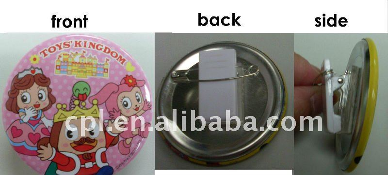 custom made tin button badges with plastic clip and safety pin