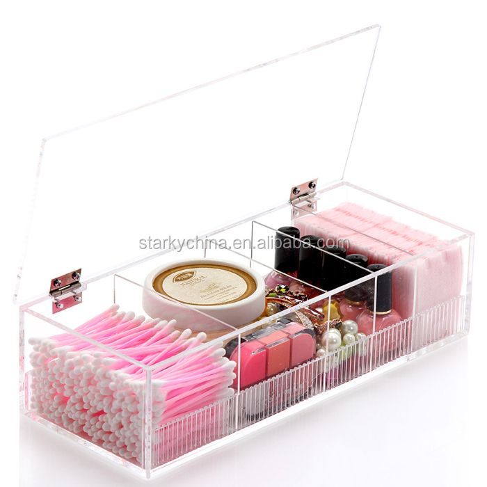 2016 custom crystal powder box acrylic makeup organizer for nail polish show makeup storage case beautify cosmetic dress