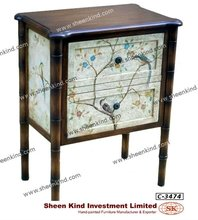 Oriental Style Wooden Decorative Storage Commode / Bedside Cabinet