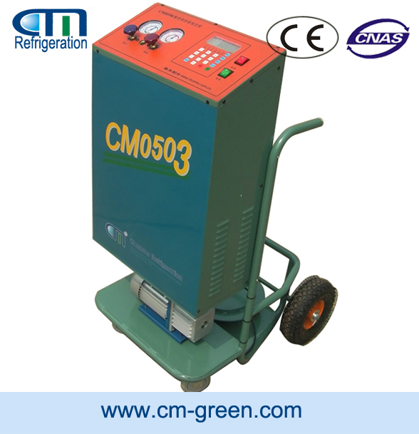 R22/R410A/ trollery type refrigerant recycle/recharge/vacuum Unit CM05 for assemble line at factory price