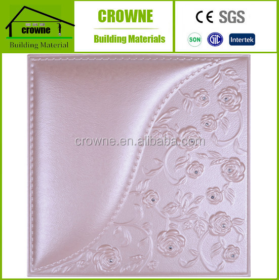 New building material 3D covering leather texture resistant decorative wall panel/3D leather panel