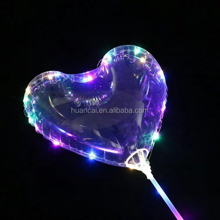 "Christmas Decoration Blinking 3 functions 18"" LED CLEAR BoBo Balloon with cup&stick fill air,led balloon with string lights"