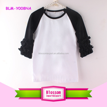 3/4 Ruffle sleeve shirt silk screen printing sleeves colored body shirt black size 7 baby boy raglan tee character kid t-shirt