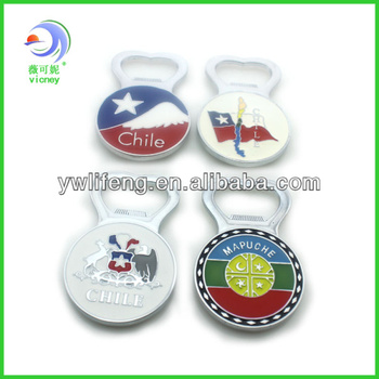 fridge magnet bottle opener for beer with Chile souvenir