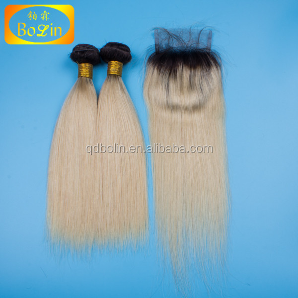 Wholesale high quality two tone hair 1b /613 color curly peruvian human hair ombre hair extension lace closure