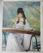 Handmade Chinese classical beautiful girl oil paintings