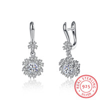 Exquisite Real 925 Sterling Silver Flower
