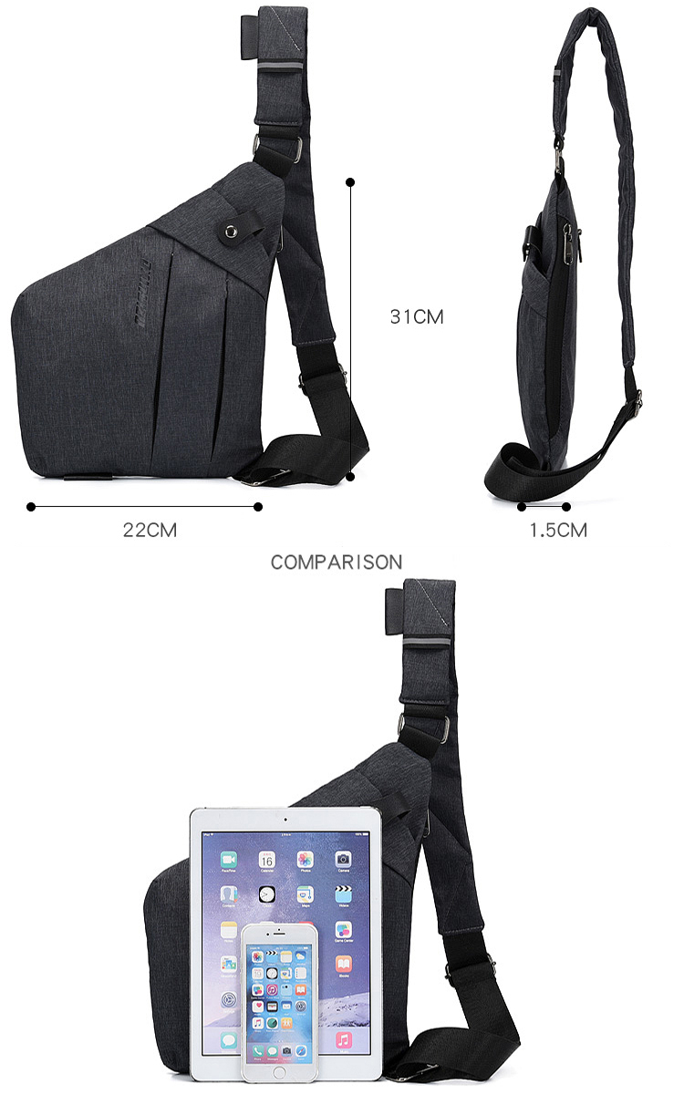 Reflective Casual Cross body Anti theft Messenger Bag Lightweight Waterproof Nylon anti-theft Men Sling Chest Bag