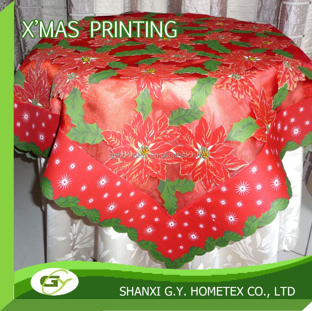 100% polyester Satin fabric Christmas flower printing table cloth 2 layer+cut work