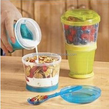 Plastic cereal to go cup with spoon as seen on TV