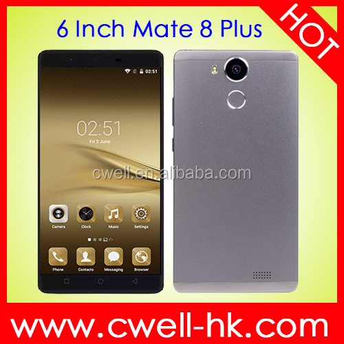 Mate 8 Plus MTK6580M Quad Core Andriod 5.1 CNC Metal Cover Free Silicone Case 1GB RAM 8GB ROM 6 inch Mobile Phone