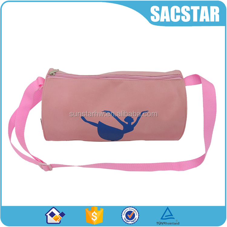 Pink satin fabric girls dancing cloth carry pack dance duffel bag