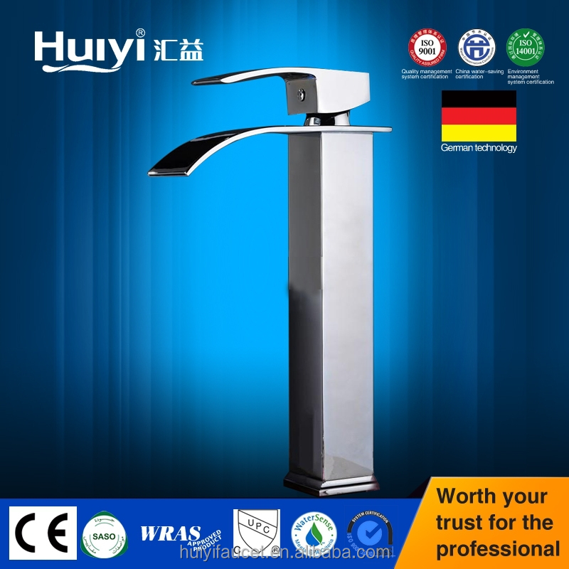 Great Quality Tall Bathroom Basin Mixer Tap Chromed Polished Waterfall Sink Faucet HY-54703